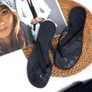 COACH . Black Lauren Flip Flops